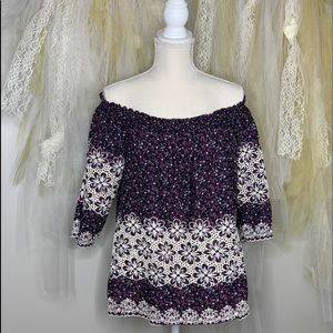 Kit From The Kloth Off The Shoulder Floral Top.